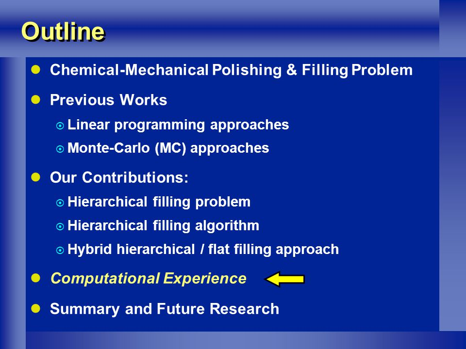 Outline Chemical-Mechanical Polishing & Filling Problem Previous Works Linear programming approaches Monte-Carlo (MC) approaches Our Contributions: Hierarchical filling problem Hierarchical filling algorithm Hybrid hierarchical / flat filling approach Computational Experience Summary and Future Research