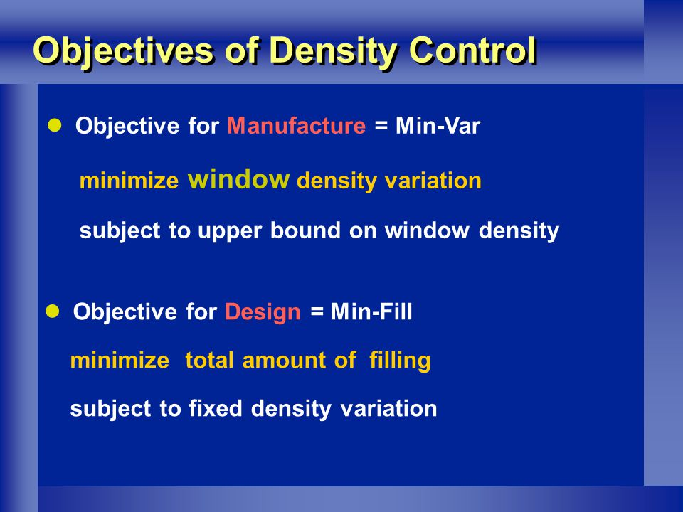 Objectives of Density Control Objective for Manufacture = Min-Var minimize window density variation subject to upper bound on window density Objective for Design = Min-Fill minimize total amount of filling subject to fixed density variation