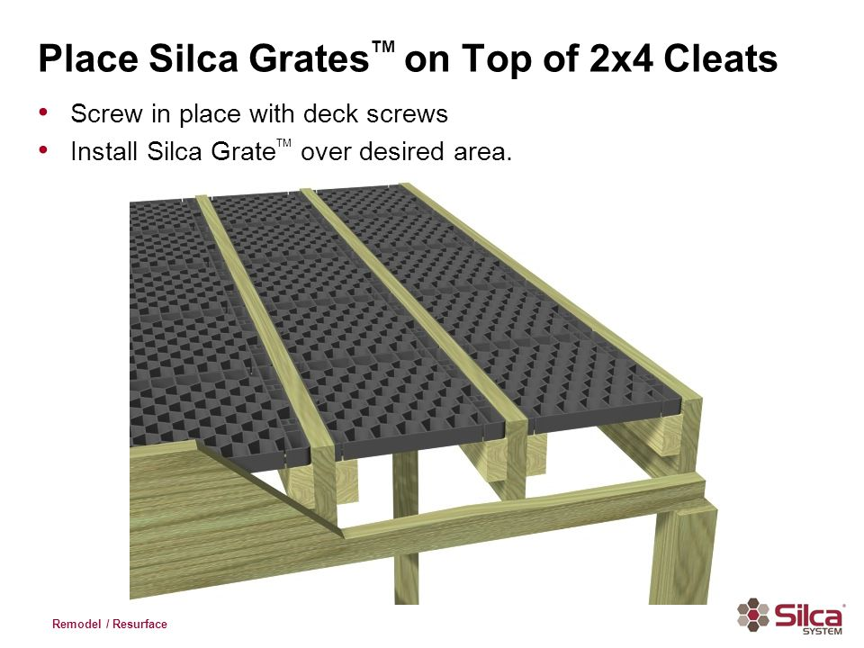 Remodel / Resurface Place Silca Grates TM on Top of 2x4 Cleats Screw in place with deck screws Install Silca Grate TM over desired area.