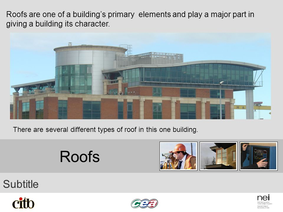 Roofs Subtitle Roofs are one of a buildings primary elements and play a major part in giving a building its character. There are several different typ