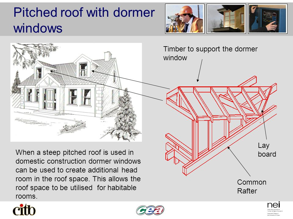 Pitched roof with dormer windows A pitched roof with dormer windows. When a steep pitched roof is used in domestic construction dormer windows can be