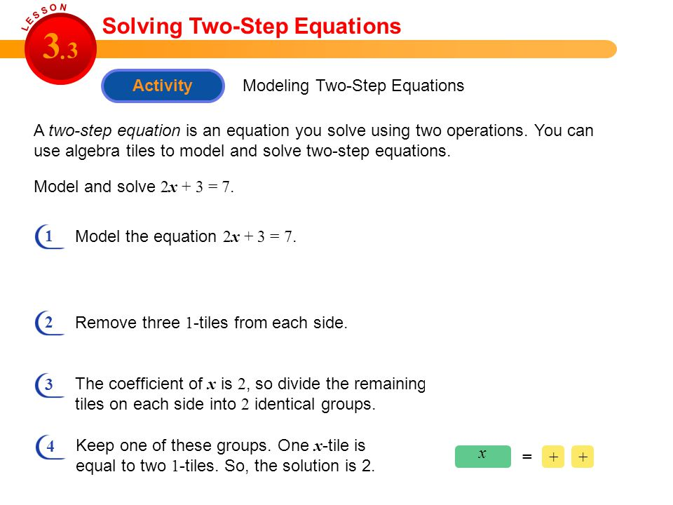 Activity Modeling Two-Step Equations Solving Two-Step Equations A two-step equation is an equation you solve using two operations. You can use algebra