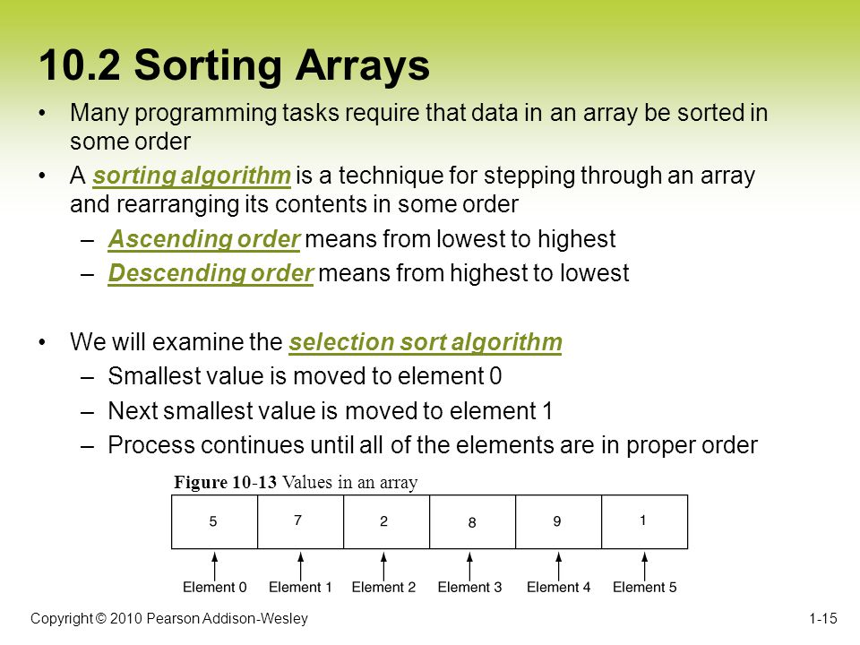 Copyright © 2010 Pearson Addison-Wesley 10.2 Sorting Arrays Many programming tasks require that data in an array be sorted in some order A sorting algorithm is a technique for stepping through an array and rearranging its contents in some order –Ascending order means from lowest to highest –Descending order means from highest to lowest We will examine the selection sort algorithm –Smallest value is moved to element 0 –Next smallest value is moved to element 1 –Process continues until all of the elements are in proper order 1-15 Figure 10-13 Values in an array