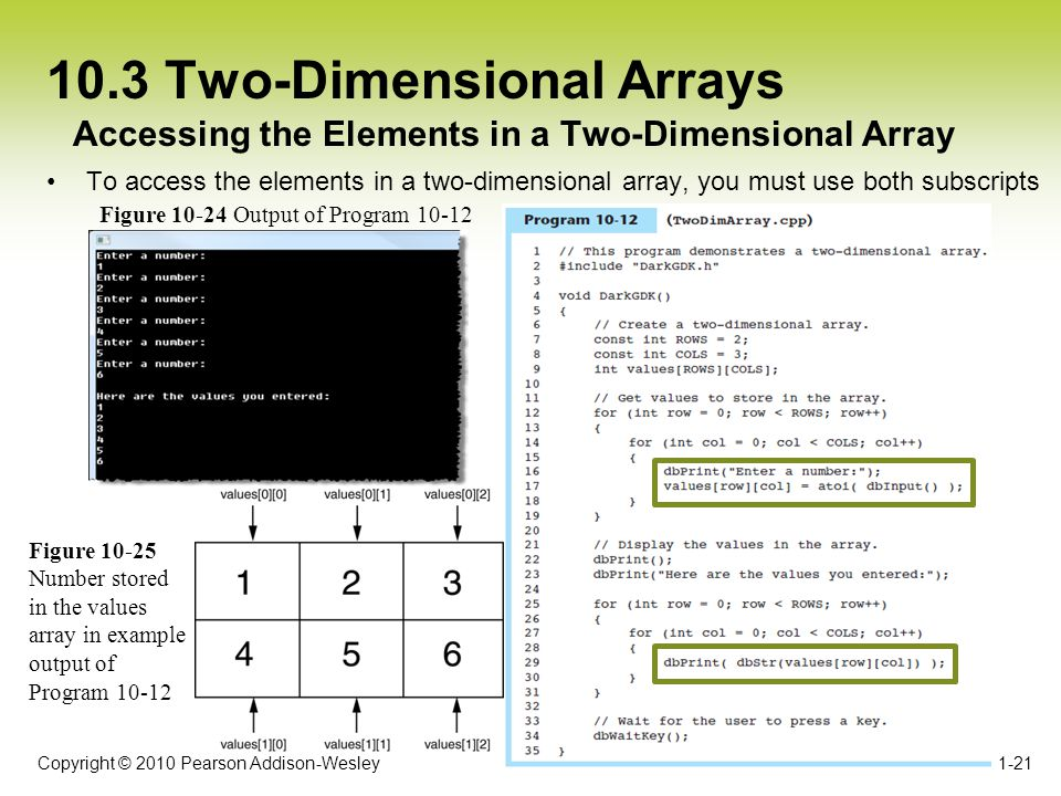 Copyright © 2010 Pearson Addison-Wesley 10.3 Two-Dimensional Arrays To access the elements in a two-dimensional array, you must use both subscripts 1-21 Accessing the Elements in a Two-Dimensional Array Figure 10-24 Output of Program 10-12 Figure 10-25 Number stored in the values array in example output of Program 10-12