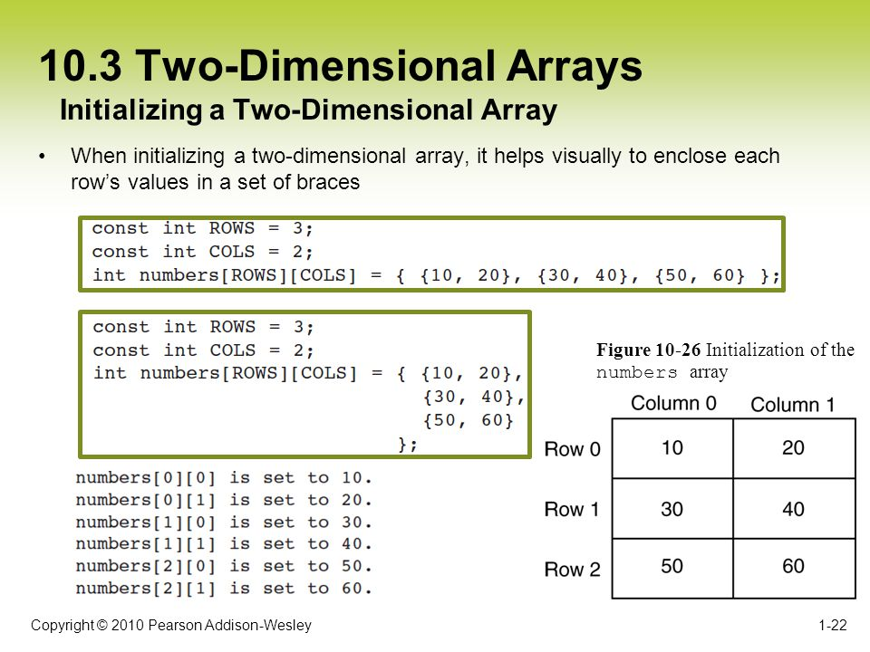 Copyright © 2010 Pearson Addison-Wesley 10.3 Two-Dimensional Arrays When initializing a two-dimensional array, it helps visually to enclose each rows values in a set of braces 1-22 Initializing a Two-Dimensional Array Figure 10-26 Initialization of the numbers array