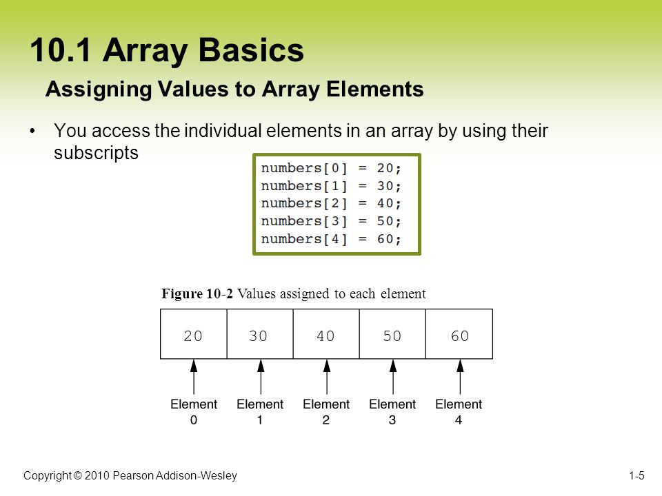 Copyright © 2010 Pearson Addison-Wesley 10.1 Array Basics The C++ language does not perform array bounds checking –Array subscript values are not checked by the compiler 1-6 No Array Bounds Checking in C++