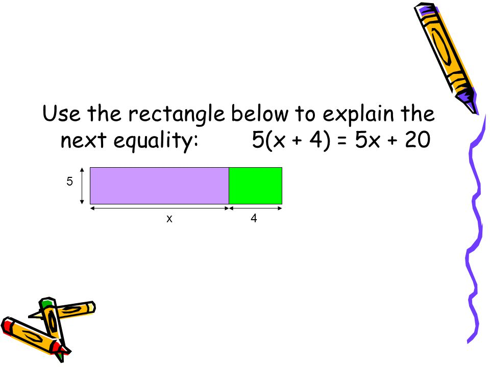 Use the rectangle below to explain the next equality: 5(x + 4) = 5x + 20 5 x 4