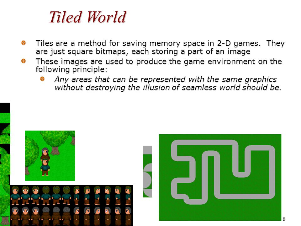 9 Tiled World Tiles are a method for saving memory space in 2-D games: While the graphic may be referenced in the map more than once, and possibly drawn in the screen more than once, it will only need to be stored once in memory.