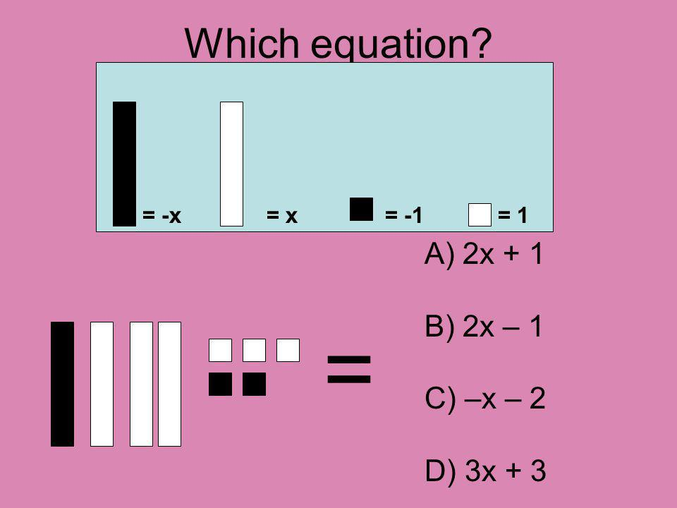 Which equation = = -x= x= -1= 1 A) 2x + 1 B) 2x – 1 C) –x – 2 D) 3x + 3