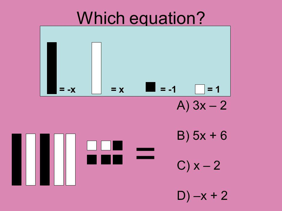 Which equation = = -x= x= -1= 1 A) 3x – 2 B) 5x + 6 C) x – 2 D) –x + 2