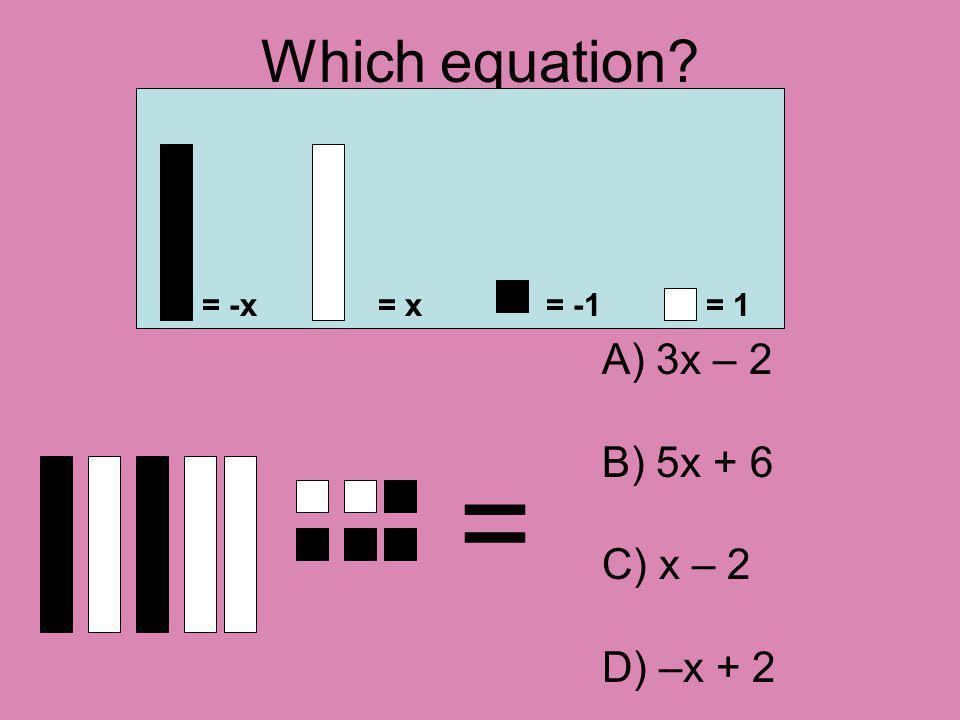 Which equation? = = -x= x= -1= 1 A) 3x – 2 B) 5x + 6 C) x – 2 D) –x + 2