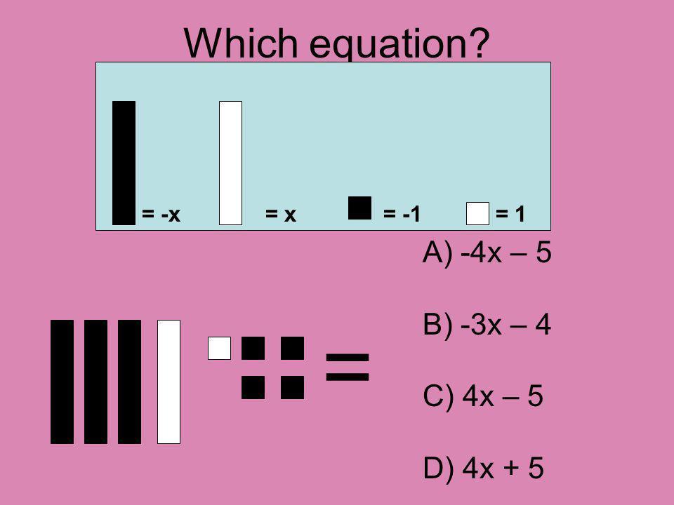 Which equation? = = -x= x= -1= 1 A) -4x – 5 B) -3x – 4 C) 4x – 5 D) 4x + 5