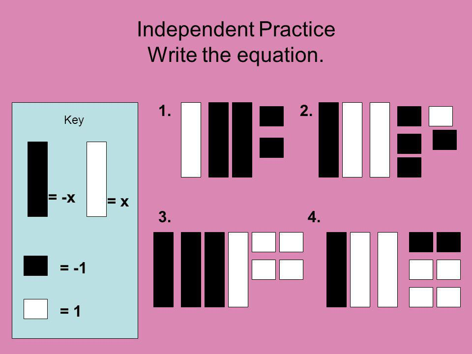 Independent Practice Write the equation. Key = -x = 1 = -1 1.2. 3.4. = x