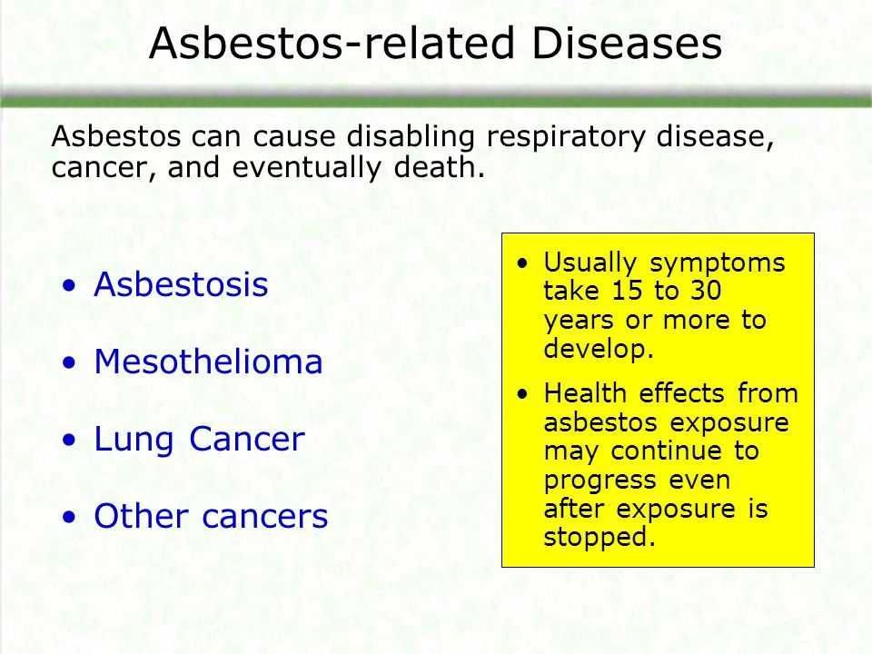 Asbestos-related Diseases Asbestos can cause disabling respiratory disease, cancer, and eventually death. Asbestosis Mesothelioma Lung Cancer Other ca