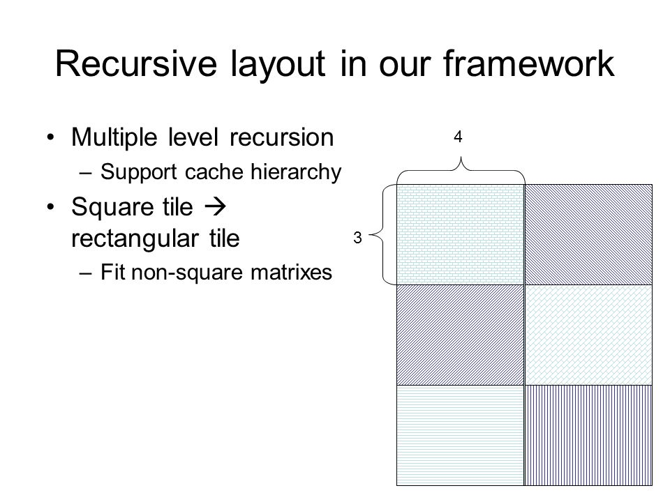 Recursive layout in our framework Multiple level recursion –Support cache hierarchy Square tile rectangular tile –Fit non-square matrixes 3 4