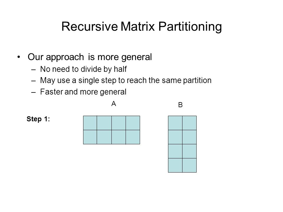 Recursive Matrix Partitioning Our approach is more general –No need to divide by half –May use a single step to reach the same partition –Faster and more general A B Step 1: