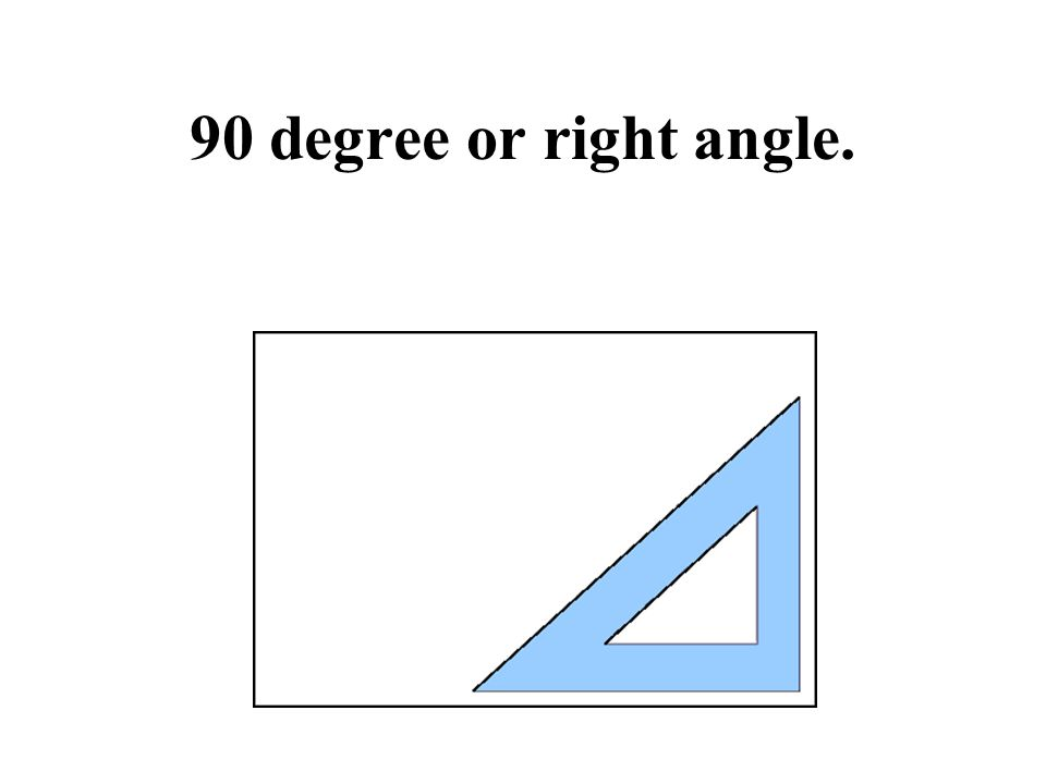 90 degree or right angle.