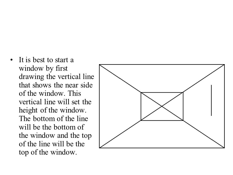 It is best to start a window by first drawing the vertical line that shows the near side of the window. This vertical line will set the height of the