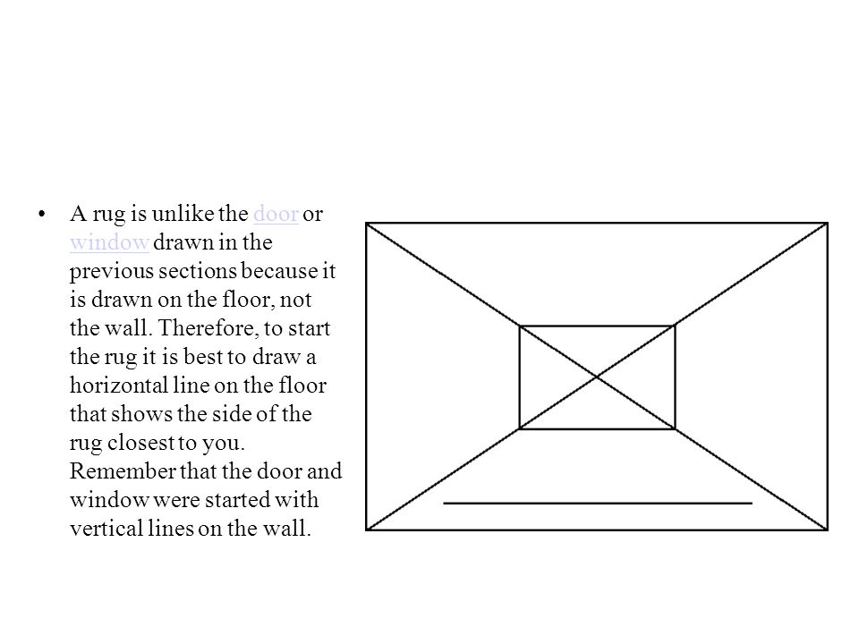A rug is unlike the door or window drawn in the previous sections because it is drawn on the floor, not the wall. Therefore, to start the rug it is be
