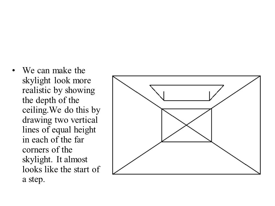 We can make the skylight look more realistic by showing the depth of the ceiling.We do this by drawing two vertical lines of equal height in each of t