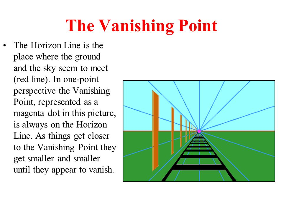 The Vanishing Point The Horizon Line is the place where the ground and the sky seem to meet (red line). In one-point perspective the Vanishing Point,