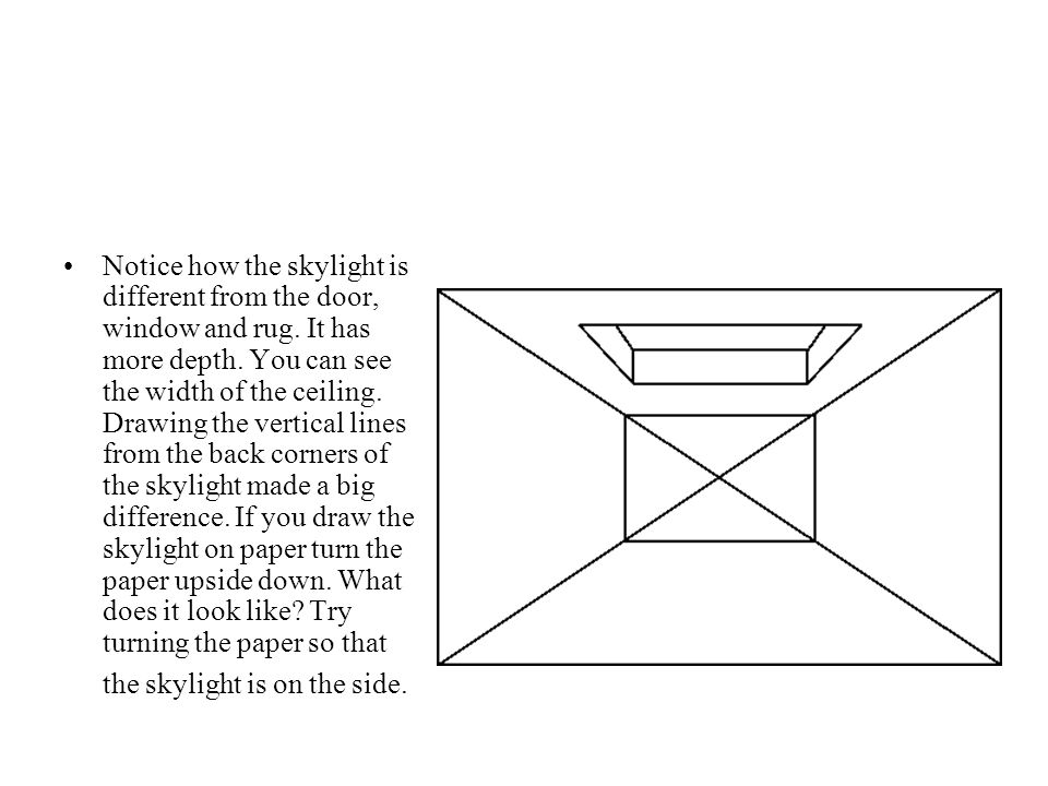 Notice how the skylight is different from the door, window and rug.