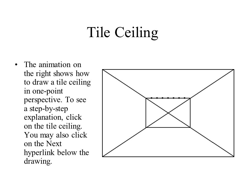 Tile Ceiling The animation on the right shows how to draw a tile ceiling in one-point perspective.