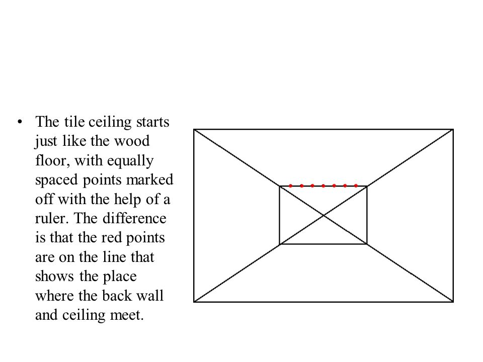 The tile ceiling starts just like the wood floor, with equally spaced points marked off with the help of a ruler. The difference is that the red point