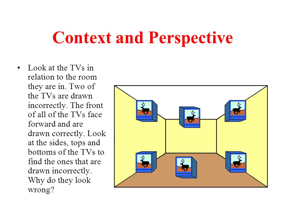 Context and Perspective Look at the TVs in relation to the room they are in. Two of the TVs are drawn incorrectly. The front of all of the TVs face fo