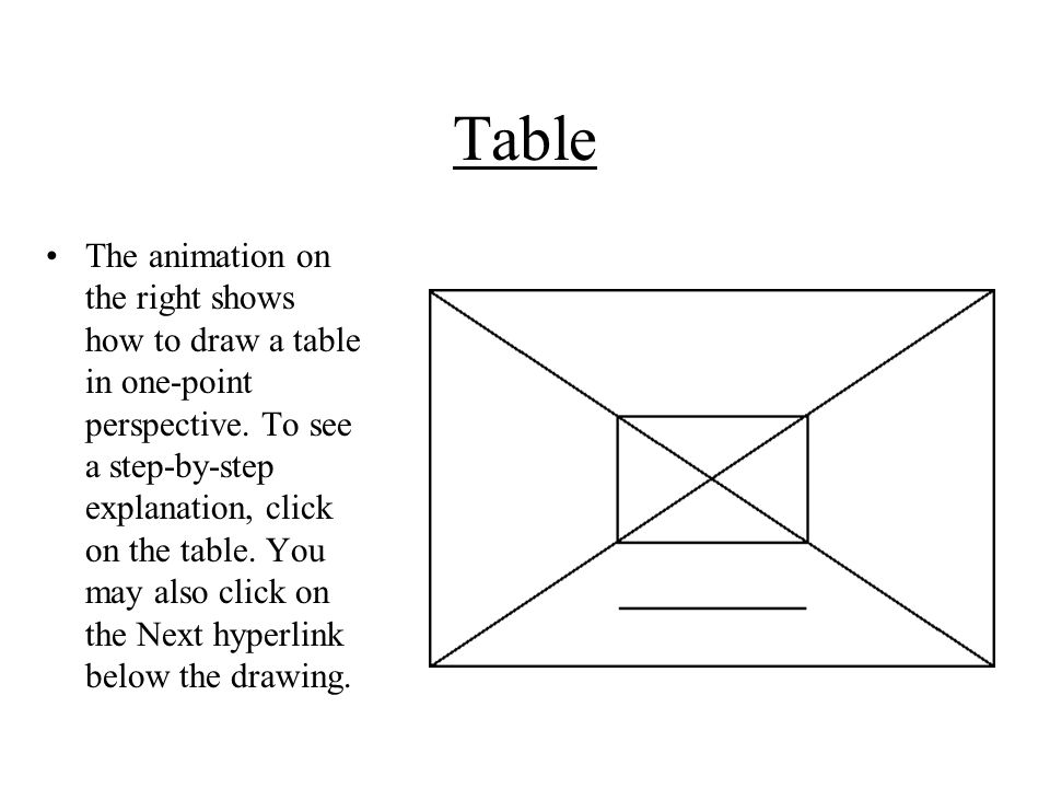 Table The animation on the right shows how to draw a table in one-point perspective.
