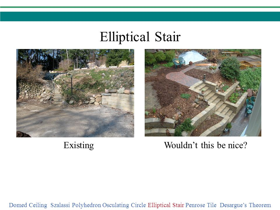 Elliptical Stair Wouldnt this be nice?Existing Domed Ceiling Szalassi Polyhedron Osculating Circle Elliptical Stair Penrose Tile Desargues Theorem
