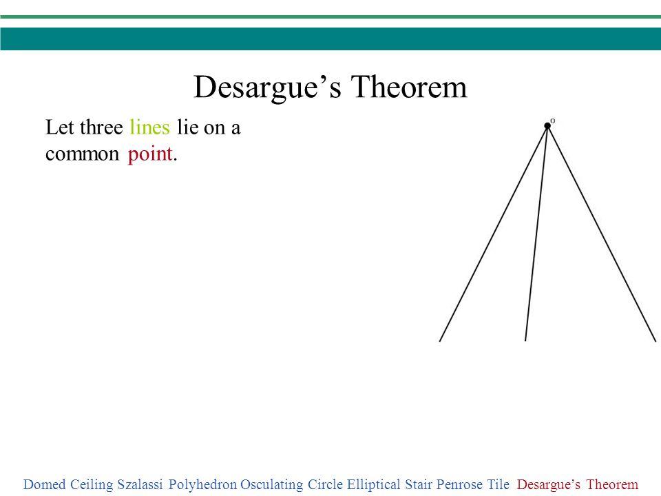 Desargues Theorem Domed Ceiling Szalassi Polyhedron Osculating Circle Elliptical Stair Penrose Tile Desargues Theorem Let three lines lie on a common