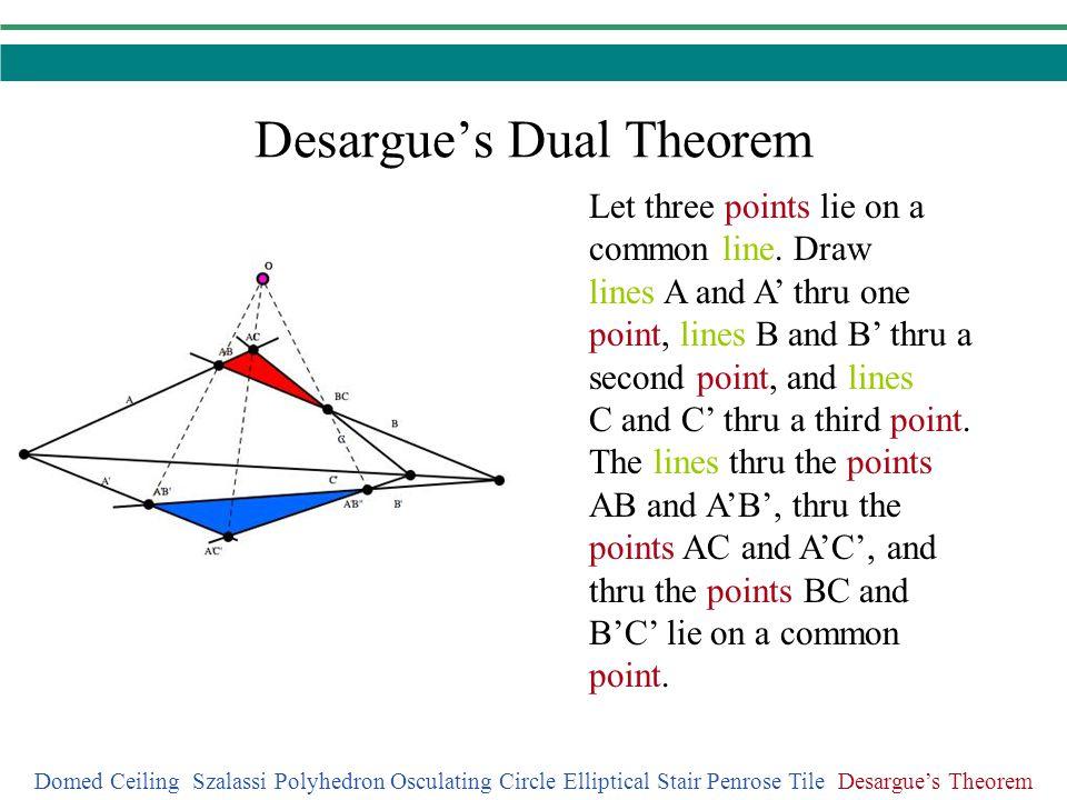 Desargues Dual Theorem Domed Ceiling Szalassi Polyhedron Osculating Circle Elliptical Stair Penrose Tile Desargues Theorem Let three points lie on a c