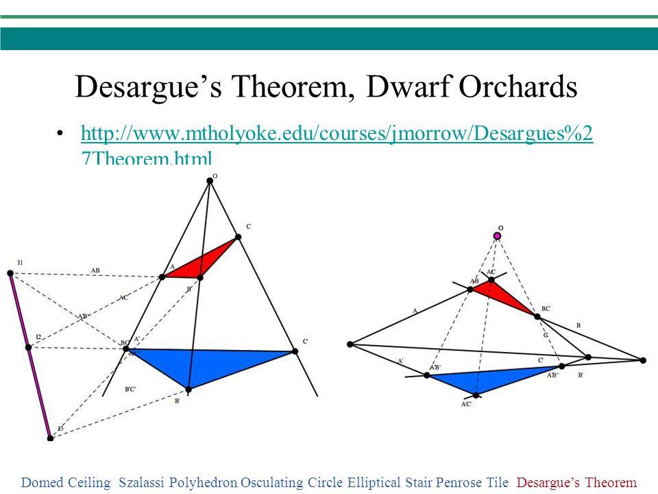 Desargues Theorem, Dwarf Orchards Domed Ceiling Szalassi Polyhedron Osculating Circle Elliptical Stair Penrose Tile Desargues Theorem http://www.mthol