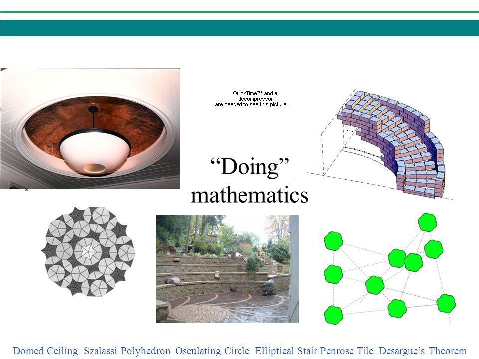 Doing mathematics Domed Ceiling Szalassi Polyhedron Osculating Circle Elliptical Stair Penrose Tile Desargues Theorem