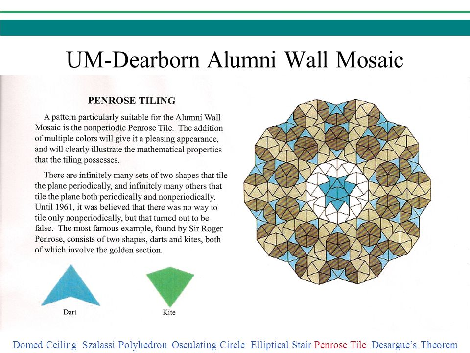 Desargues Theorem Domed Ceiling Szalassi Polyhedron Osculating Circle Elliptical Stair Penrose Tile Desargues Theorem Let three lines lie on a common point.
