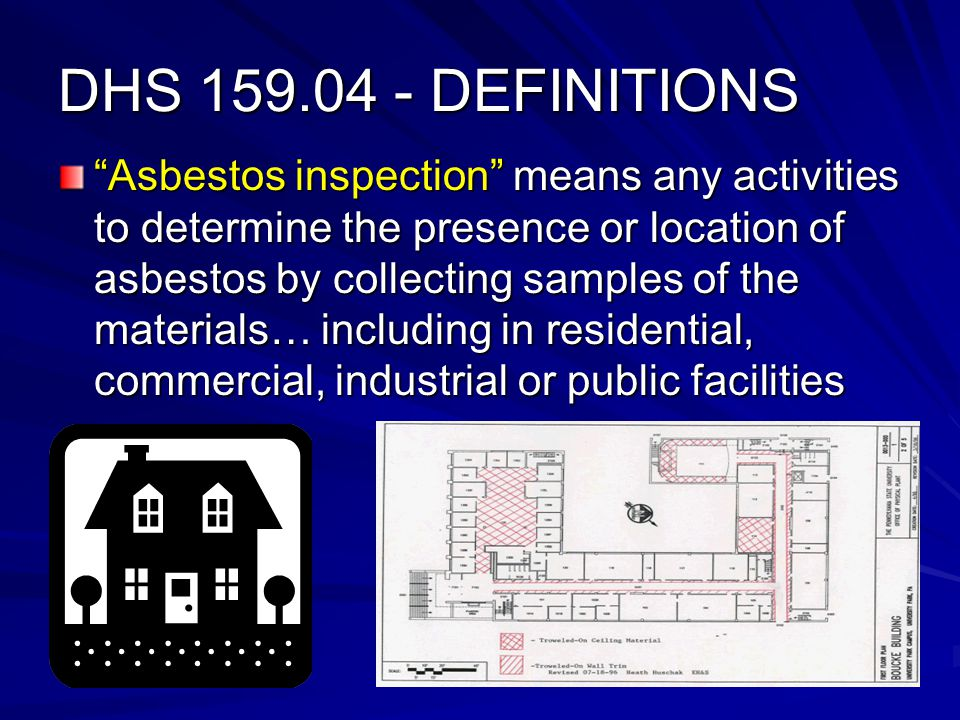 DHS 159.04 - DEFINITIONS Asbestos inspection means any activities to determine the presence or location of asbestos by collecting samples of the materials… including in residential, commercial, industrial or public facilities