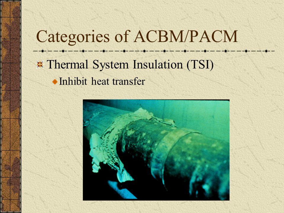 Categories of ACBM/PACM Thermal System Insulation (TSI) Inhibit heat transfer