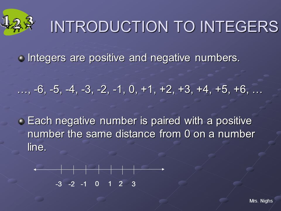 INTRODUCTION TO INTEGERS Integers are positive and negative numbers.