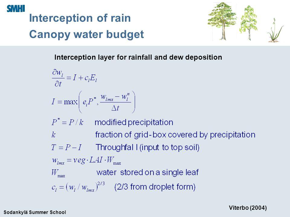Sodankylä Summer School Interception layer for rainfall and dew deposition Viterbo (2004) Interception of rain Canopy water budget