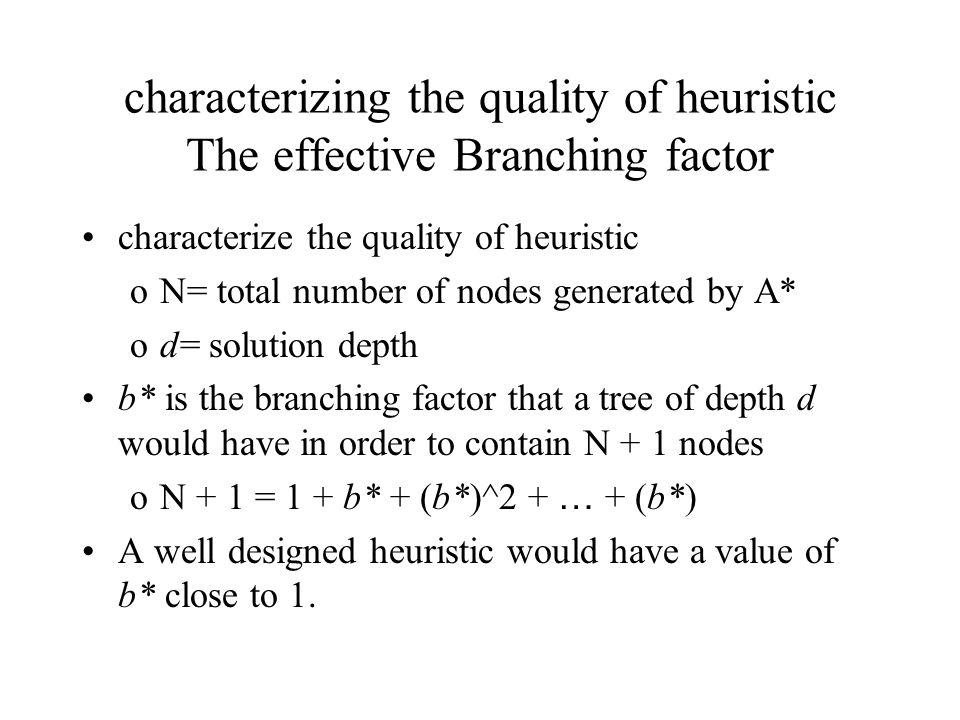 characterizing the quality of heuristic The effective Branching factor characterize the quality of heuristic oN= total number of nodes generated by A* od= solution depth b* is the branching factor that a tree of depth d would have in order to contain N + 1 nodes oN + 1 = 1 + b* + (b*)^2 + … + (b*) A well designed heuristic would have a value of b* close to 1.