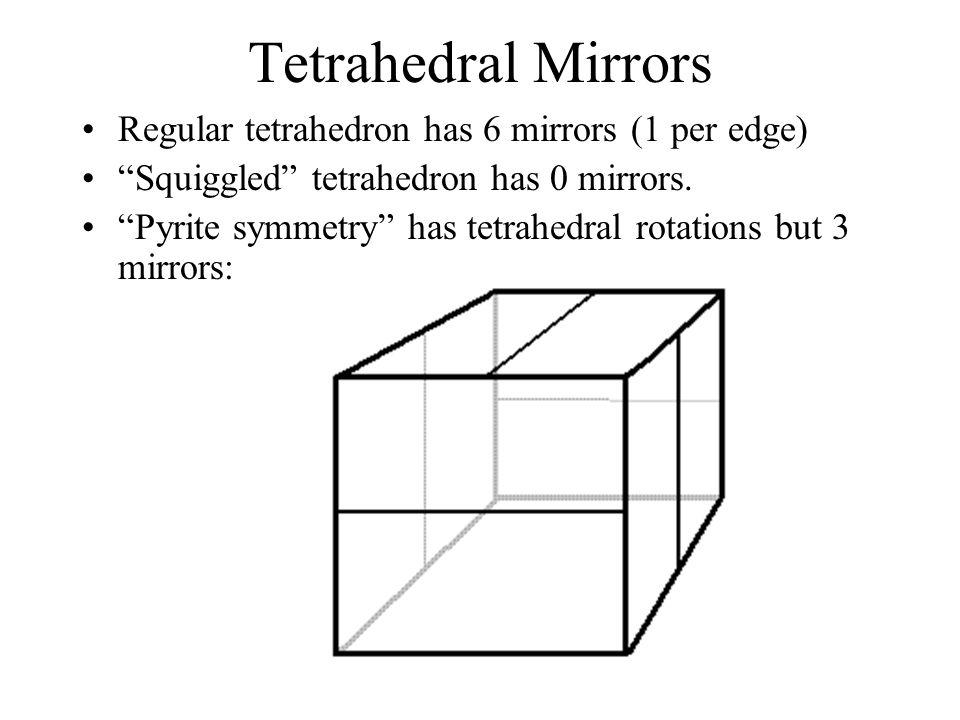 Tetrahedral Mirrors Regular tetrahedron has 6 mirrors (1 per edge) Squiggled tetrahedron has 0 mirrors. Pyrite symmetry has tetrahedral rotations but