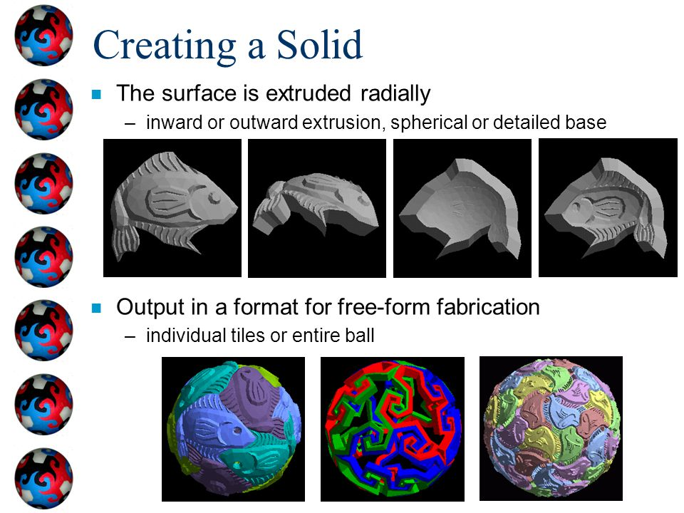 Creating a Solid n The surface is extruded radially –inward or outward extrusion, spherical or detailed base n Output in a format for free-form fabric