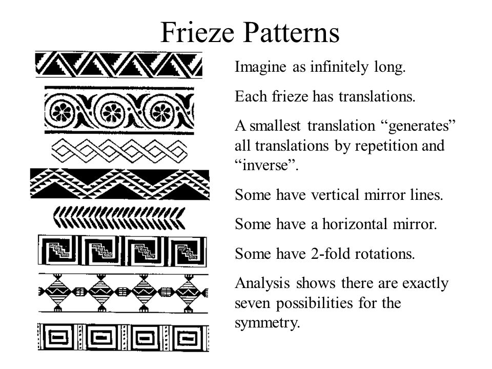 Frieze Patterns Imagine as infinitely long. Each frieze has translations. A smallest translation generates all translations by repetition and inverse.