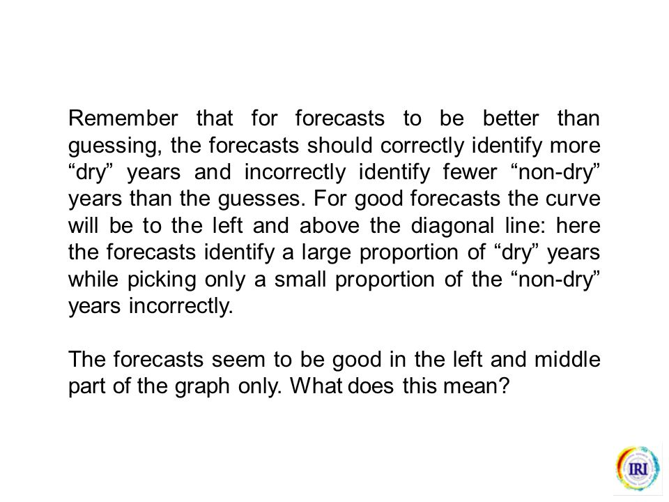 Remember that for forecasts to be better than guessing, the forecasts should correctly identify more dry years and incorrectly identify fewer non-dry years than the guesses.