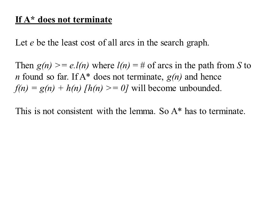 If A* does not terminate Let e be the least cost of all arcs in the search graph.