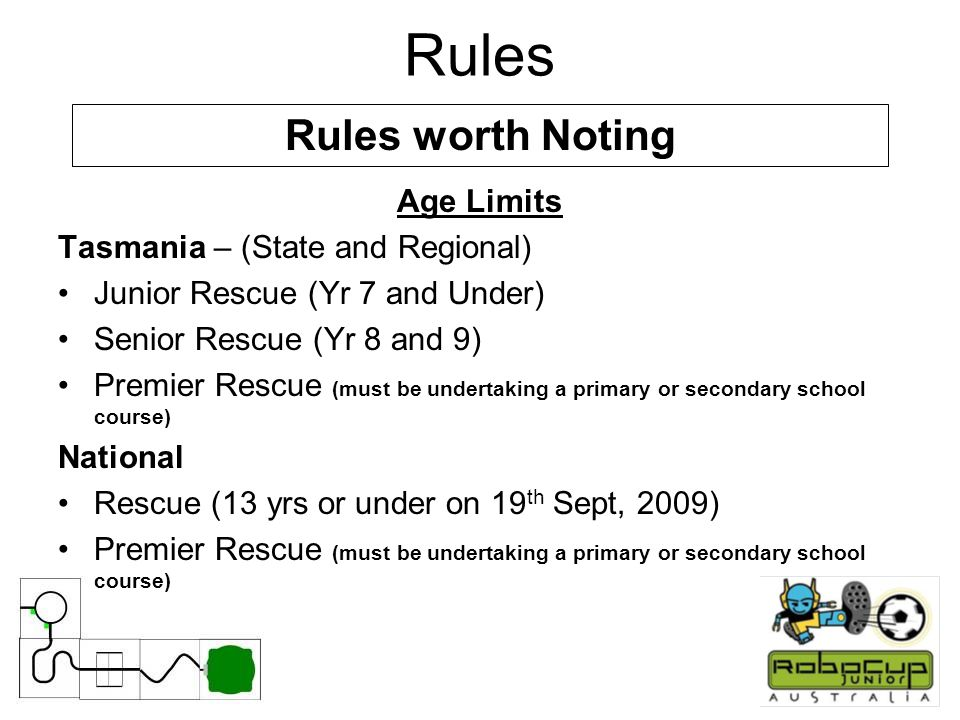 Rules Age Limits Tasmania – (State and Regional) Junior Rescue (Yr 7 and Under) Senior Rescue (Yr 8 and 9) Premier Rescue (must be undertaking a primary or secondary school course) National Rescue (13 yrs or under on 19 th Sept, 2009) Premier Rescue (must be undertaking a primary or secondary school course) Rules worth Noting