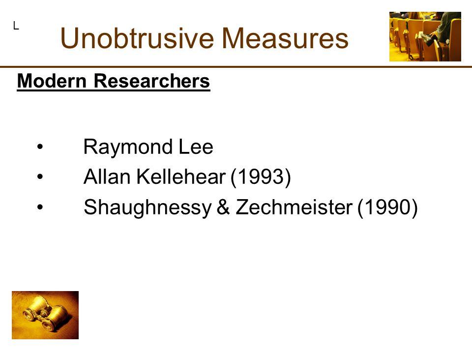 Raymond Lee Allan Kellehear (1993) Shaughnessy & Zechmeister (1990) Unobtrusive Measures L Modern Researchers