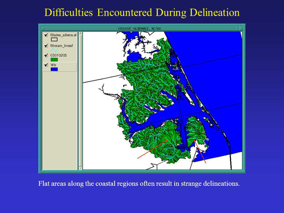 Difficulties Encountered During Delineation Flat areas along the coastal regions often result in strange delineations.