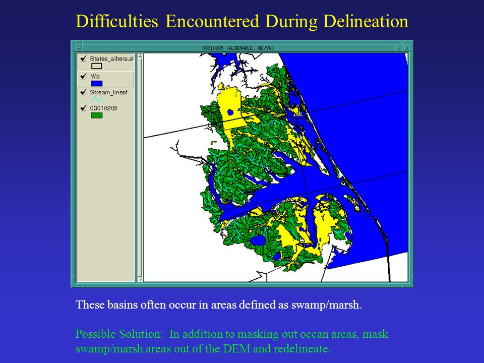 Difficulties Encountered During Delineation These basins often occur in areas defined as swamp/marsh.